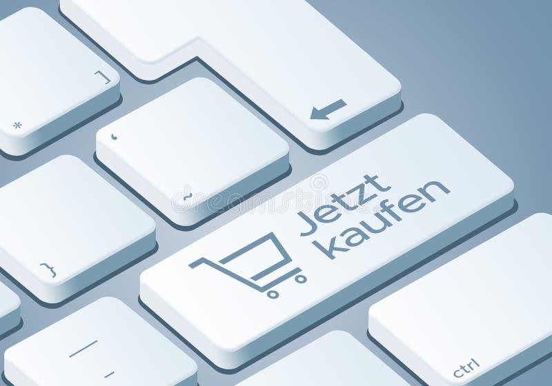 Покупкы ключ теперь - клавиатура с иллюстрацией концепции 3D - Немецк-перевод: Jetzt kaufen иллюстрация штока