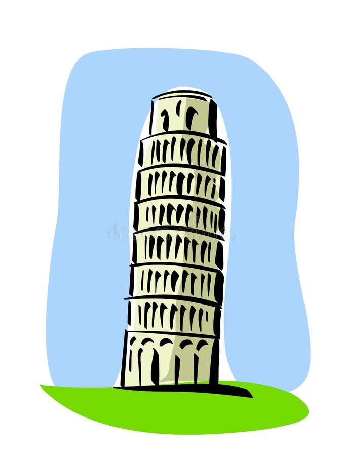 полагаясь башня pisa иллюстрация вектора