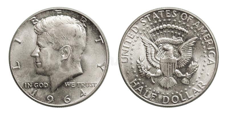 Полдоллара Кеннеди 1964 серебряной монеты США стоковые изображения