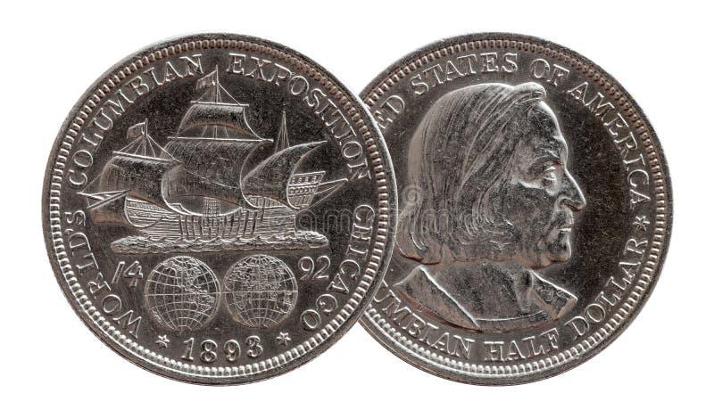 Полдоллара коммеморативные США чеканит серебряное 1893 стоковые фото