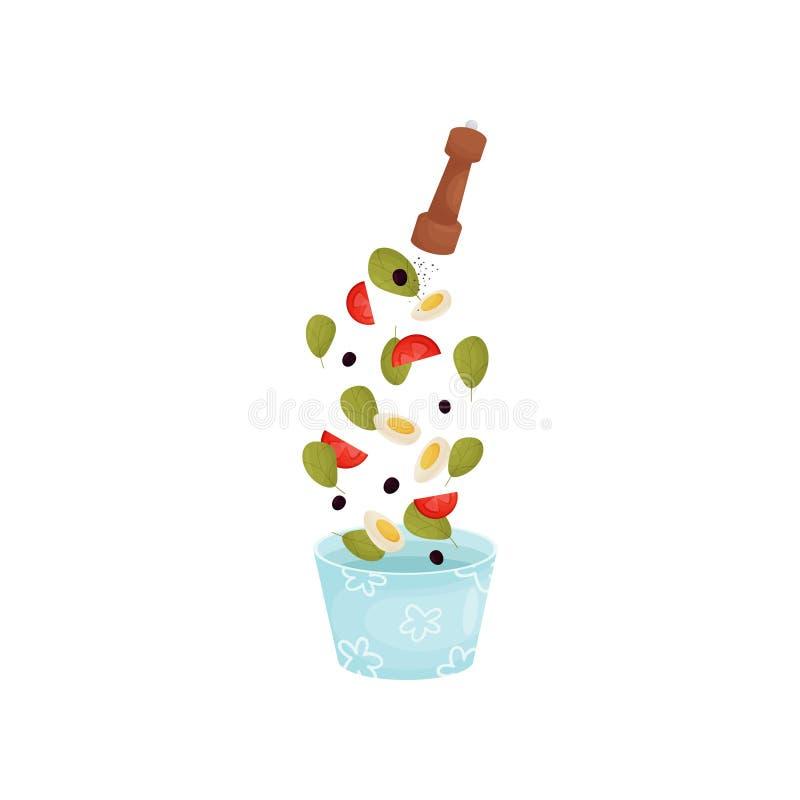 Полейте вареное яйцо, перец, томаты и оливки в голубом шаре r иллюстрация вектора