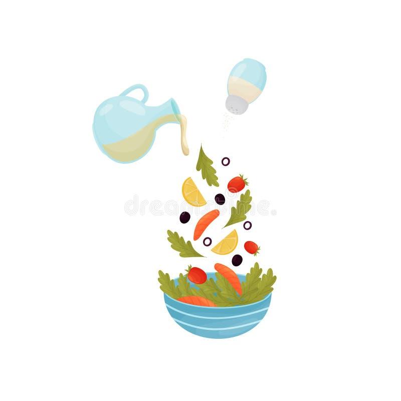 Полейте ингредиенты для салата с рыбами в чашке r иллюстрация штока