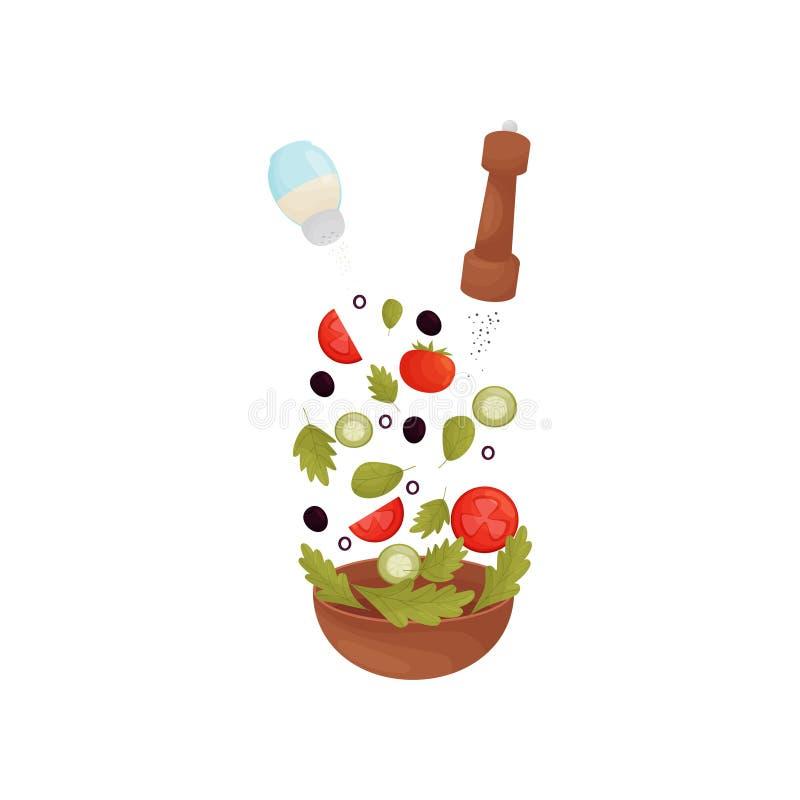 Полейте соль, перец, травы, оливки, томаты, огурцы в шаре r бесплатная иллюстрация