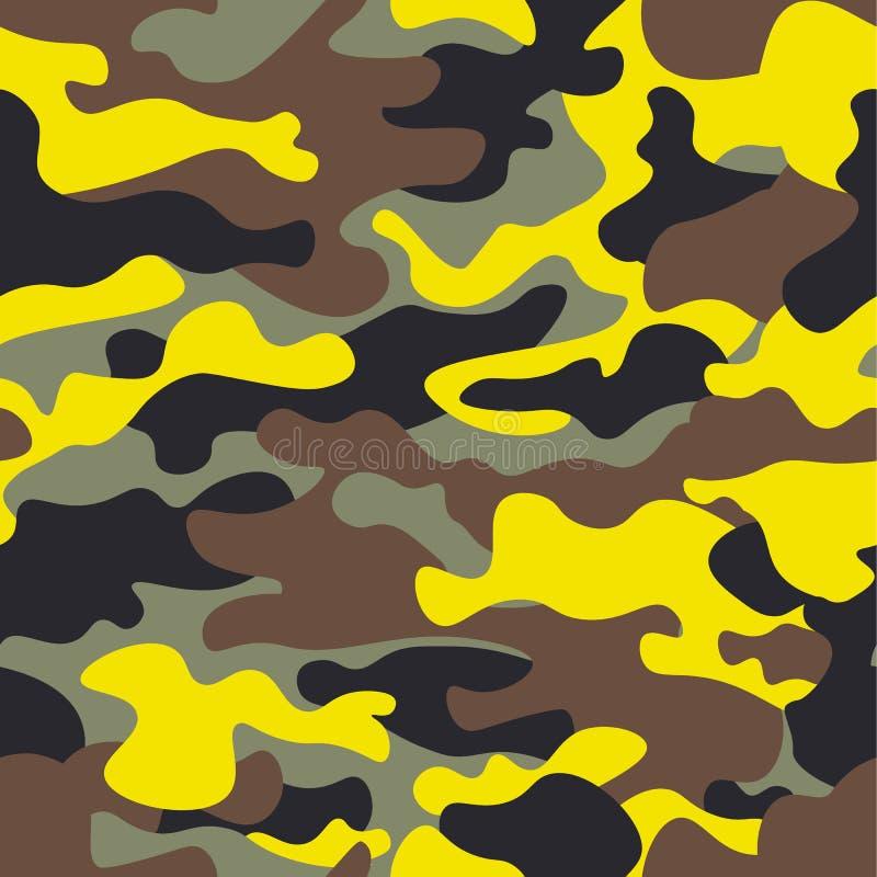 Полесье безшовной моды широкое и желтое camo делают по образцу иллюстрацию для вашего дизайна Rep camo классического стиля одежды иллюстрация вектора