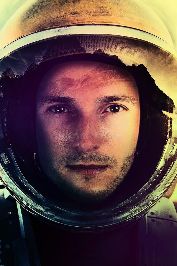 Полет в космос Портрет крупного плана астронавта стоковые фотографии rf