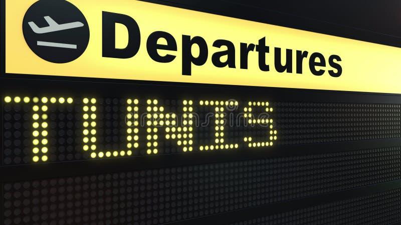 Полет к Тунису на доске отклонений международного аэропорта Путешествовать к переводу 3D Туниса схематическому иллюстрация штока