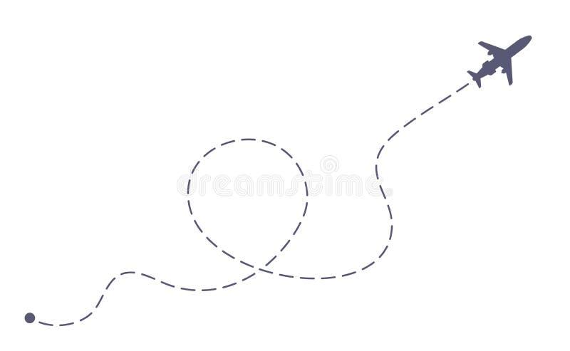 Полет самолета бросаясь линия Линия путь самолета авиакомпаний, полеты перемещения и маршрут воздушных путешествий бросились лини иллюстрация штока