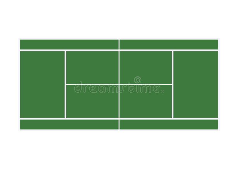 Поле зеленой травы тенниса на белой предпосылке иллюстрация штока