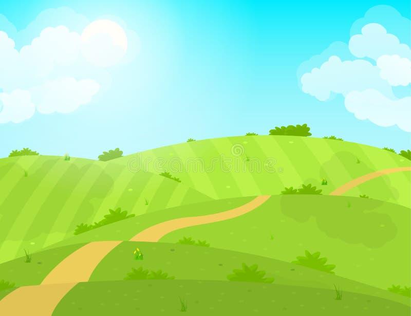 Поле и дорога зеленого цвета лета мультфильма вектор иллюстрация вектора