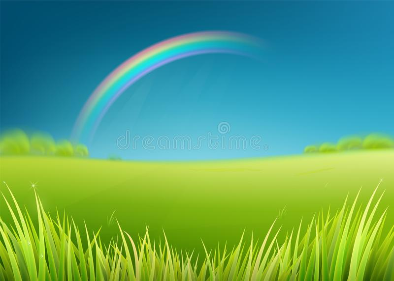 Поле луга лета с радугой после дождя Предпосылка природы с зеленой травой бесплатная иллюстрация