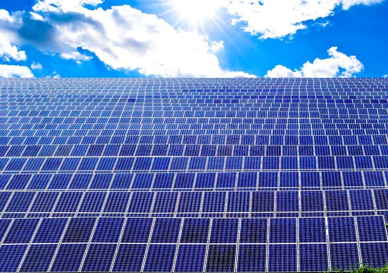 Поле панелей силы солнечной энергии стоковое фото rf