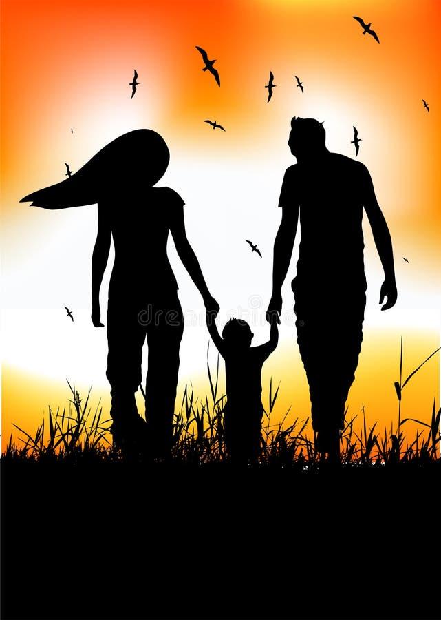 поле семьи младенца меньшяя прогулка лета иллюстрация штока