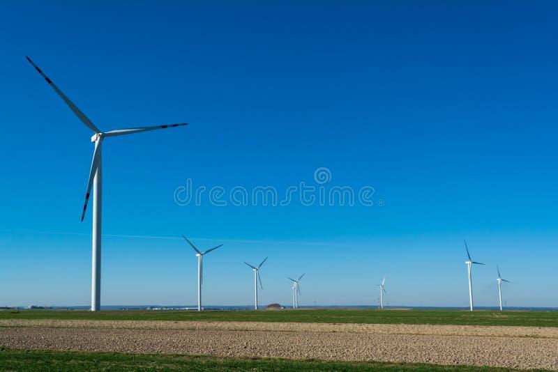 Поле с ветрянками для электричества Экологически чистая энергия произвела ветром Извлечение энергии от воздуха стоковое изображение