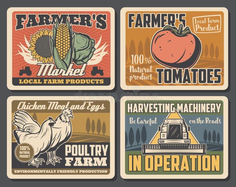 Поле фермы, трактор, петух, цыпленок, овощи бесплатная иллюстрация