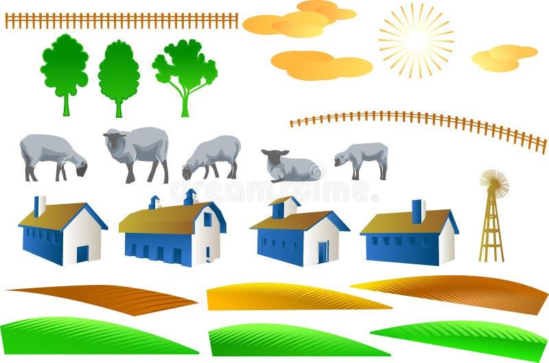 поле фермы элементов иллюстрация штока