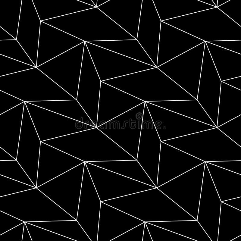 Полигональная черно-белая monochrome геометрическая безшовная картина иллюстрация вектора