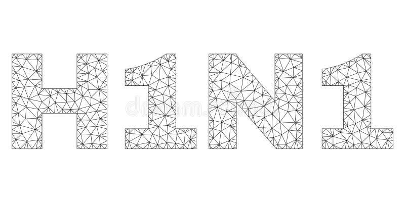 Полигональная 2D бирка текста H1N1 иллюстрация штока