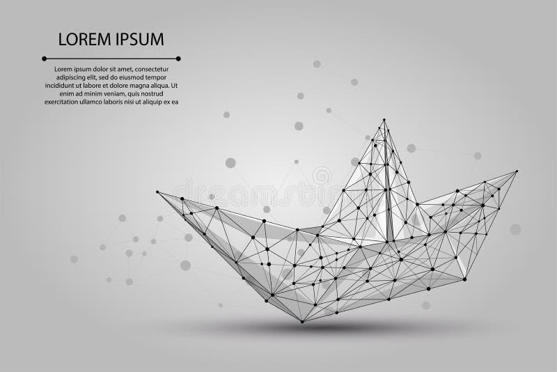 Полигональное wireframe цепляет шлюпку Origami от линий и звезд точек Корабль бумаги вектора иллюстрация вектора
