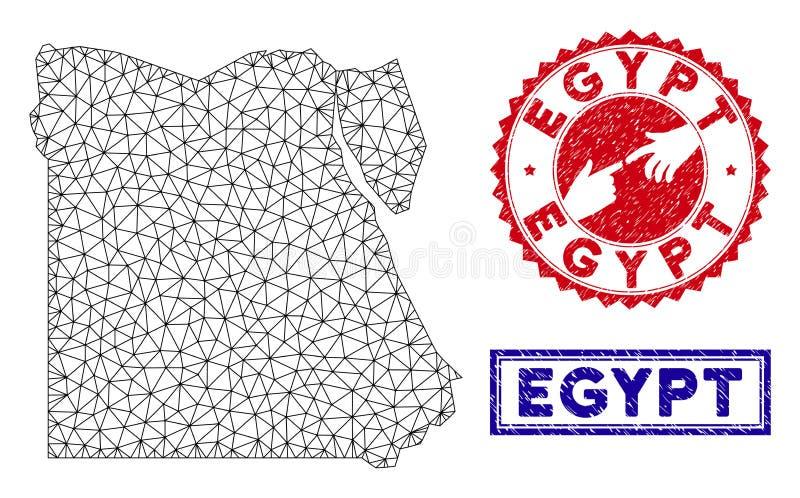 Полигональные печати карты и Grunge Египта рамки провода бесплатная иллюстрация