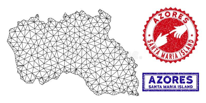 Полигональные печати карты и Grunge острова Santa Maria рамки провода иллюстрация вектора