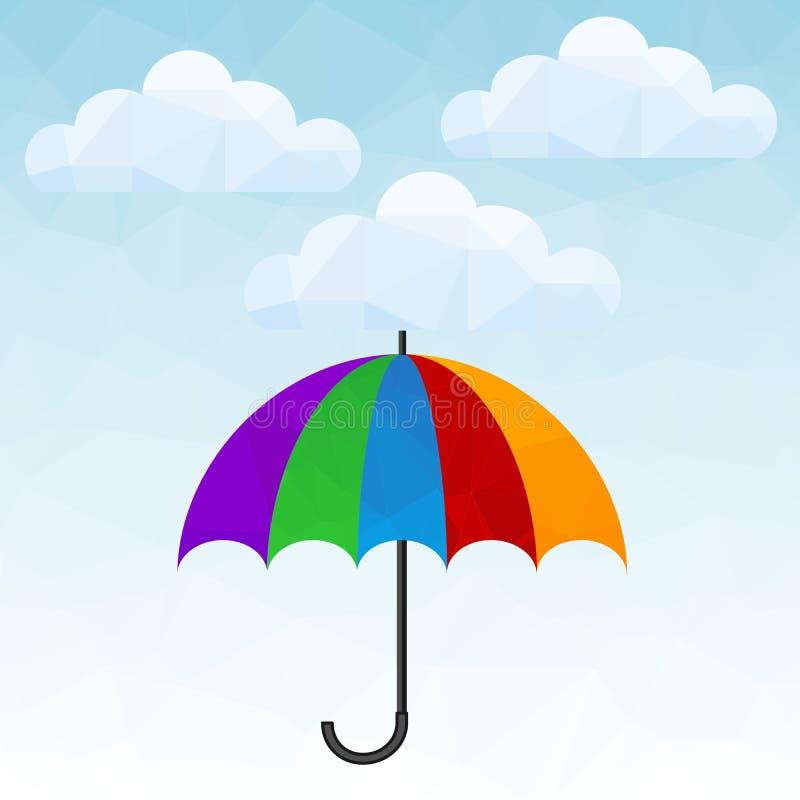 Полигональный значок с облаками и зонтиком Символ предохранения от дождя иллюстрация штока