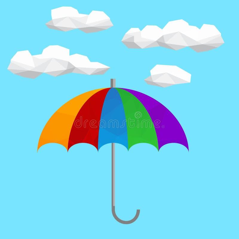 Полигональный значок с облаками и зонтиком Символ предохранения от дождя иллюстрация вектора