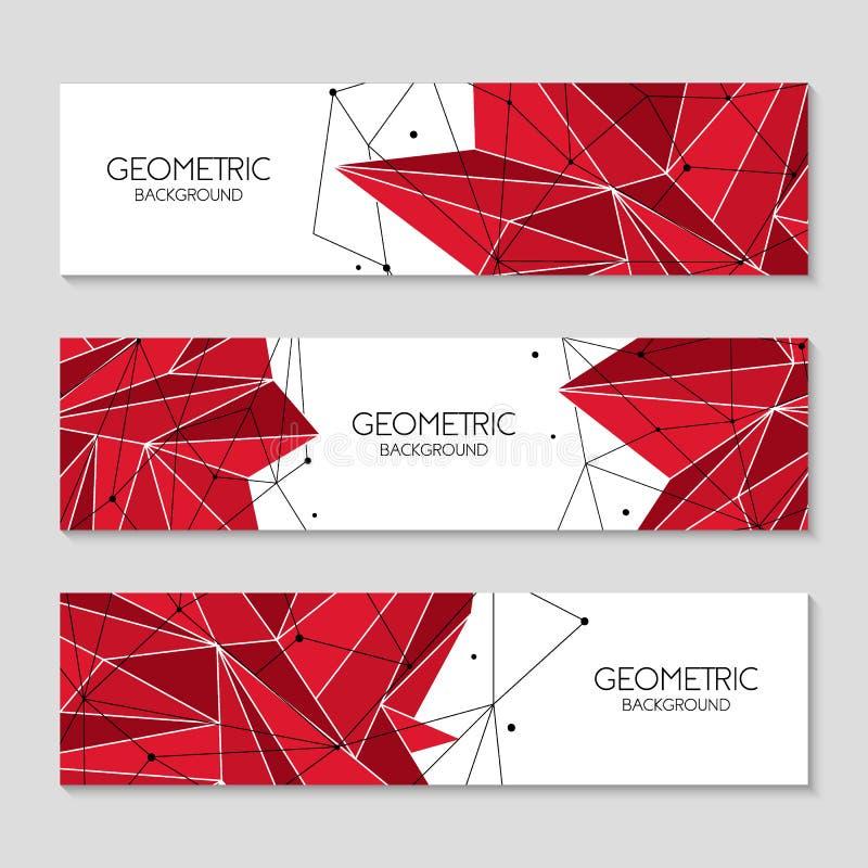 Полигональный красный абстрактный футуристический шаблон, низкий поли знак на белой предпосылке Линии вектора, точки и формы треу иллюстрация вектора