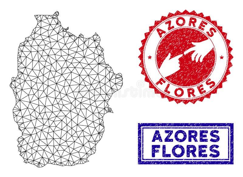 Полигональный остров Flores сетки печатей карты и Grunge Азорских островов иллюстрация вектора