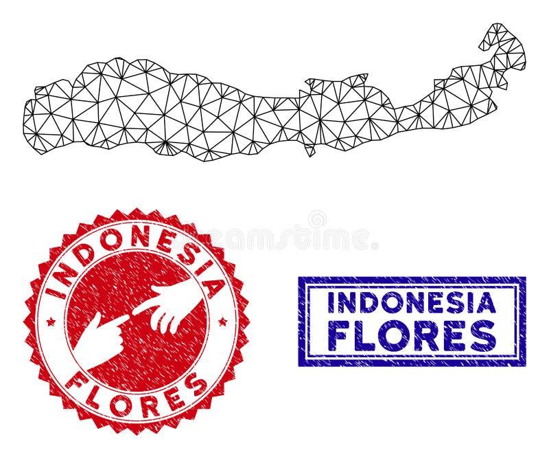 Полигональный остров Flores туши печатей карты и Grunge Индонезии иллюстрация штока