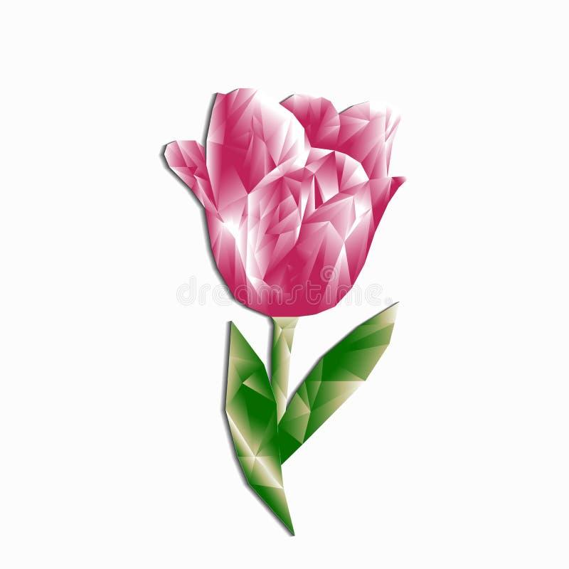 Полигональный пинк тюльпана объемный при тень изолированная для congrat иллюстрация вектора