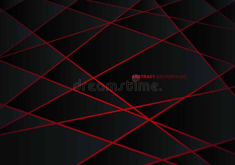 Полигон черноты конспекта геометрический на предпосылке идеи проекта технологии красного лазерного луча неоновой футуристической бесплатная иллюстрация
