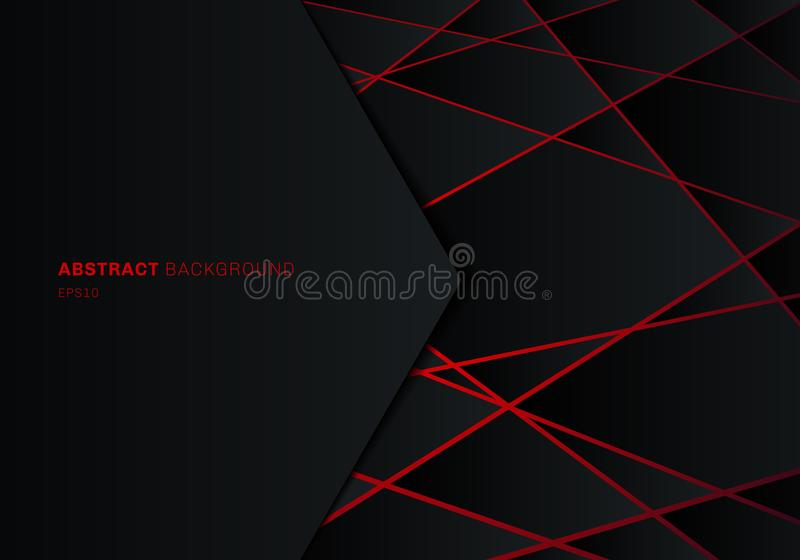 Полигон черноты шаблона конспекта геометрический на предпосылке идеи проекта технологии красного лазерного луча неоновой футурист иллюстрация штока