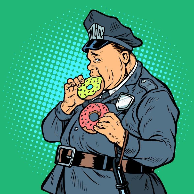 Полисмен ест донут бесплатная иллюстрация