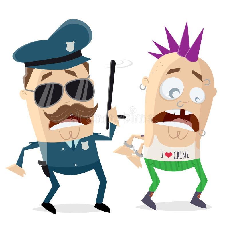 Полисмен мультфильма арестовывая преступника бесплатная иллюстрация