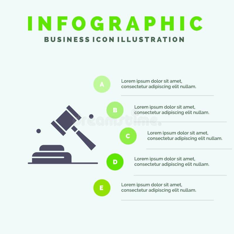 Политика, закон, кампания, предпосылка представления шагов Infographics 5 значка голосования твердая бесплатная иллюстрация