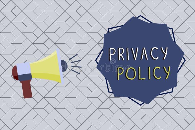 Политика уединения текста сочинительства слова Концепция дела для документа который объясняет как организация регулирует клиентов бесплатная иллюстрация