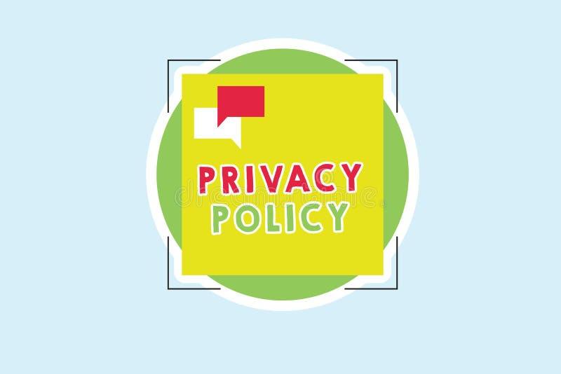 Политика уединения текста сочинительства слова Концепция дела для документа который объясняет как организация регулирует клиентов иллюстрация штока