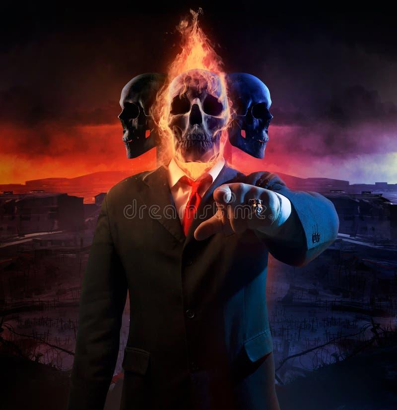 Политик войны с 3 головами бесплатная иллюстрация