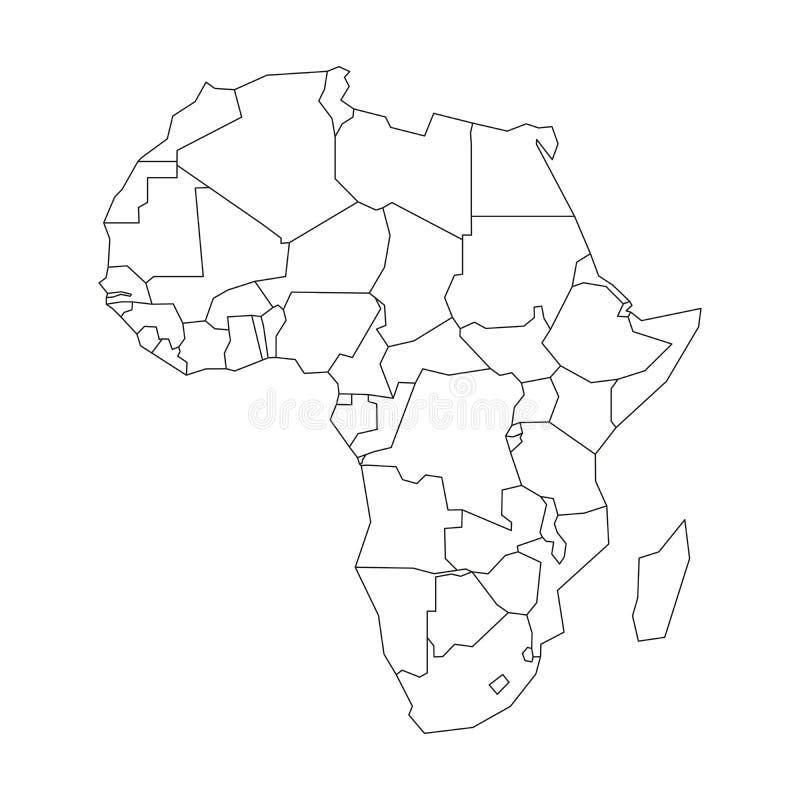 Политическая карта Африки Упрощенный черный план wireframe r бесплатная иллюстрация