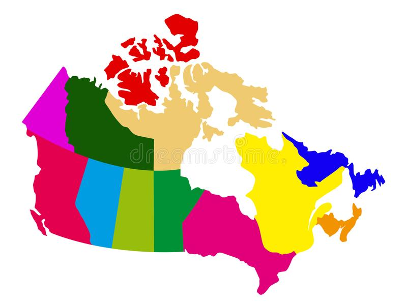 Политическая карта Канады иллюстрация вектора