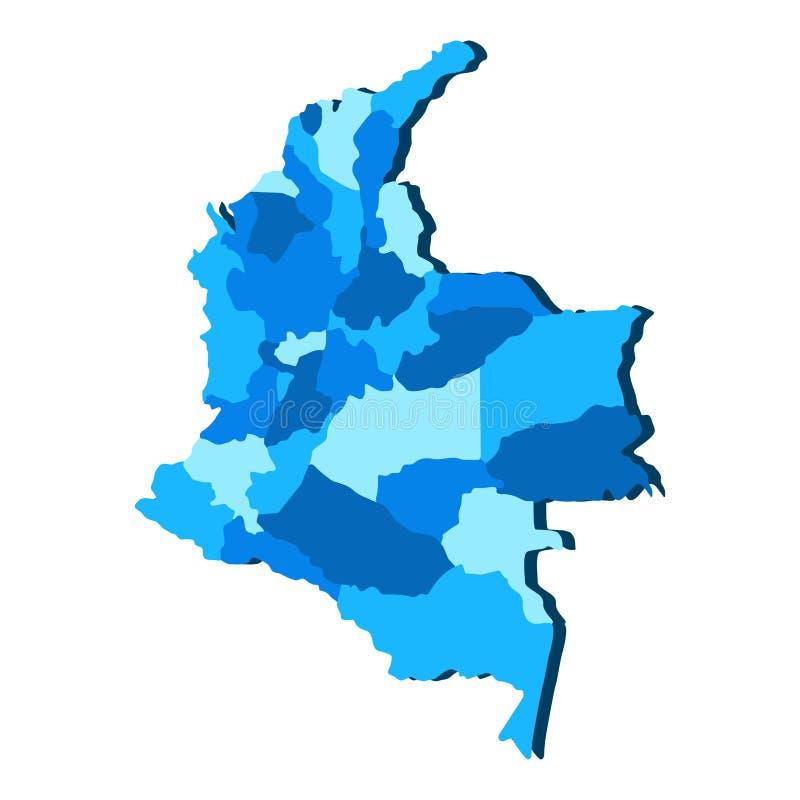 Политическая карта Колумбии иллюстрация вектора