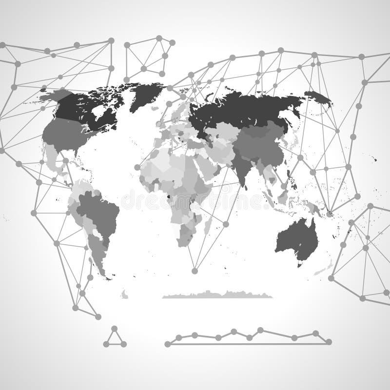 Политическая карта мира Высокая карта мира детали Все ясно обозначенные элементы отделены в слоях 3 абстрактный вектор текстуры b иллюстрация вектора