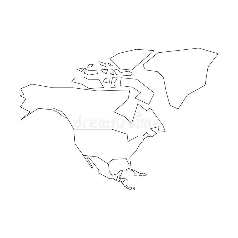 Политическая карта Северной Америки Упрощенный черный план wireframe r иллюстрация вектора