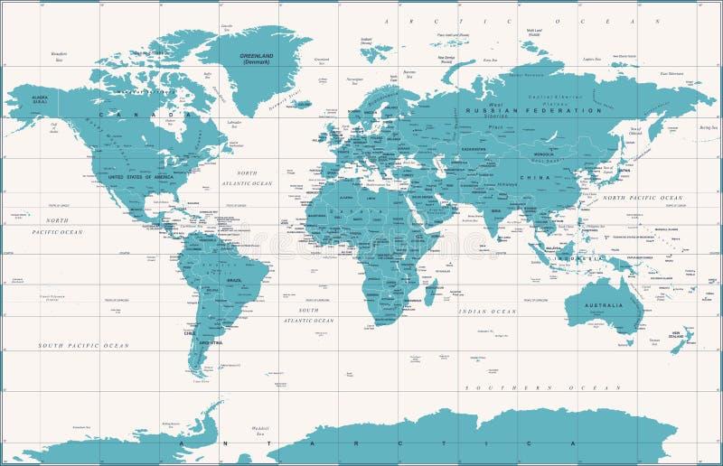 Политический винтажный вектор карты мира бесплатная иллюстрация