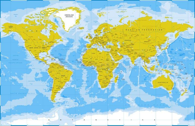 Политический физический топографический покрашенный вектор карты мира бесплатная иллюстрация