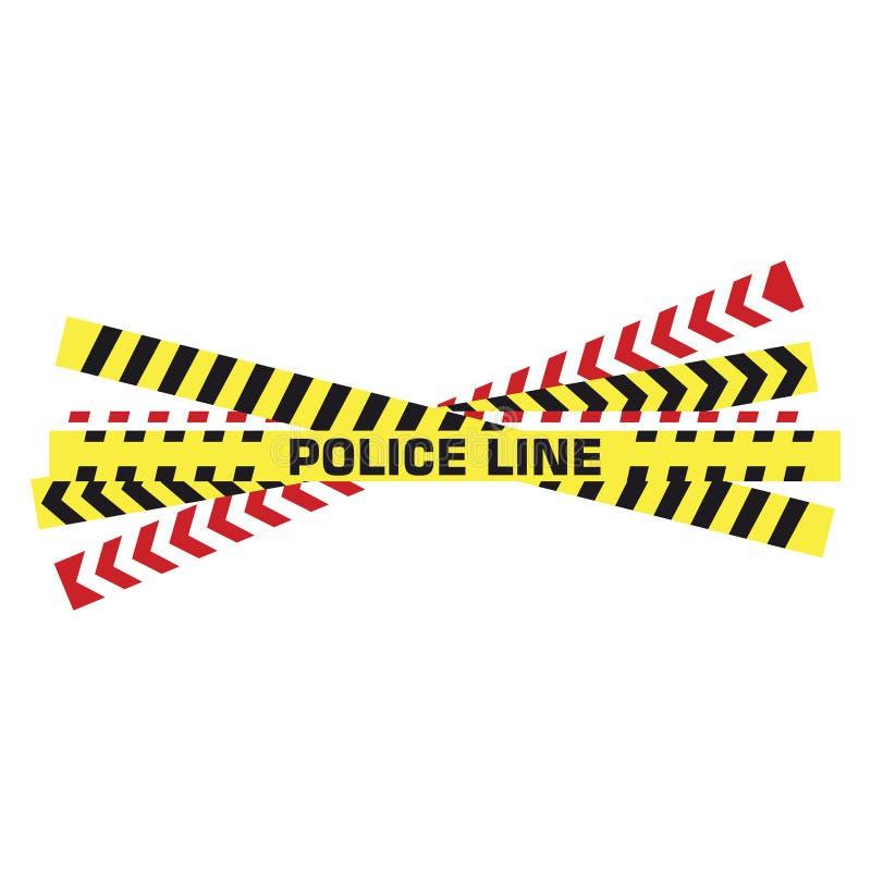Полицейская лента желтый смонтированный баррикад предупреждение опасный полиция простирает линию безопасности на границе, плоский иллюстрация вектора