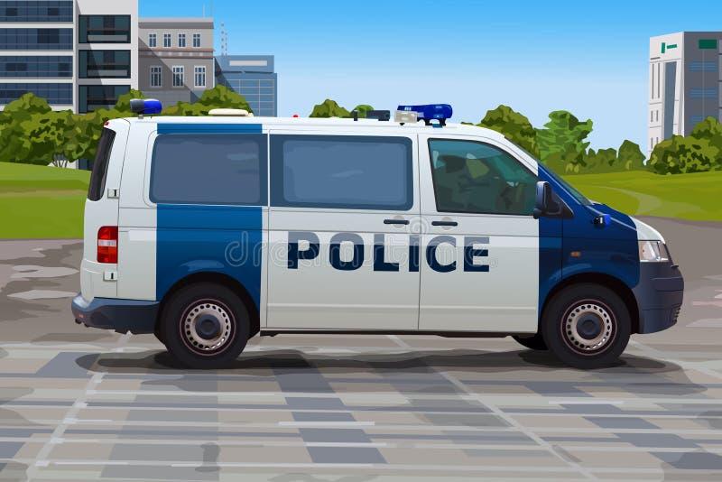 Полицейская машина в городе бесплатная иллюстрация