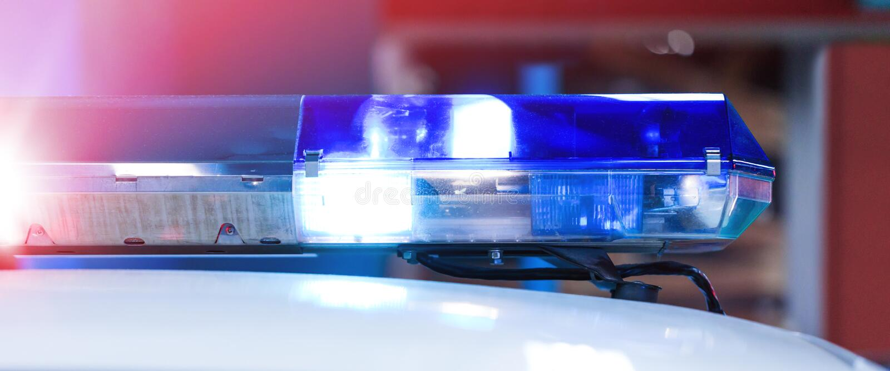Полицейская машина патруля с красивыми непредвиденными светами сирен Canadi стоковое изображение