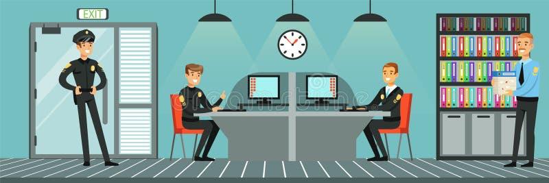 Полицейскии на работе, иллюстрации вектора Управления полиции внутренней в плоском стиле иллюстрация вектора