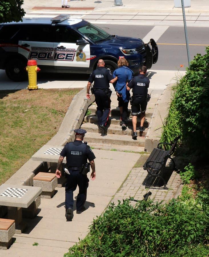 Полицейский эскорт арестовал человека к автомобилю в Kitchener, Ватерлоо, Онтарио стоковая фотография